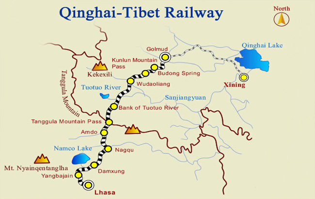 Qinghai Tibet Railway Map