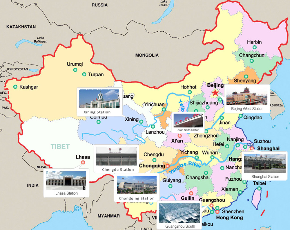 All over China to Lhasa Railway Station Map