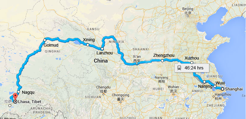 Lhasa China Map.Shanghai To Lhasa Train Schedule Cost Tickets Booking